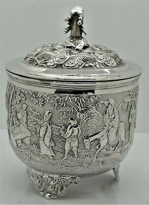 Exceptional Chinese Export Silver TEA CADDY. Huge FIGURAL SCENES. SUN SHING 1880