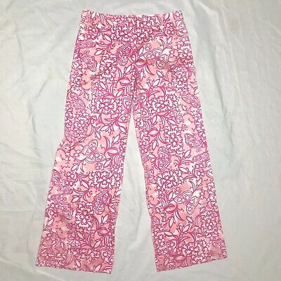 Lilly Pulitzer Women's Pink Floral Wide Leg Cuffed Pants Butterflies Size 8