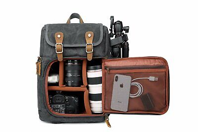 DSLR Camera Canvas Backpack Large Capacity Front Open Waterproof Anti-shock