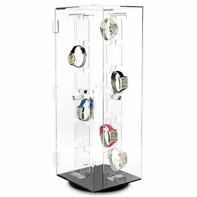 Rotating Lockable Clear Acrylic Jewellery Watch Display Case For 48 Watches