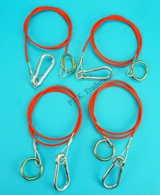 4 x RED Breakaway Cables with Split Ring for Trailer Caravan & Horsebox   #RB1