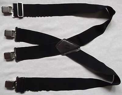Braces Suspenders Mens Vintage CLIP ON BLACK HEAVY DUTY