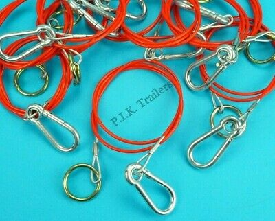 10 x RED Breakaway Cables with Split Ring for Trailer Caravan & Horsebox   #RB1