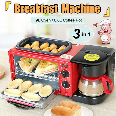3in1 Home Breakfast Machine Coffee Maker Frying Pan Bread Toaster Electric  UK
