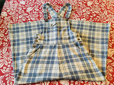 Vintage Ladies  'Coke' Woollen Check Dungaree Dress Size 10 (Very Rare)