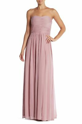 Marina Womens Pink US Size 16 Strapless Gathered Pleated Sheer Gown $179- 597