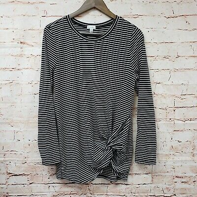 Love Fire Womens Ruched Top Sz XL Black White Striped Long Sleeve