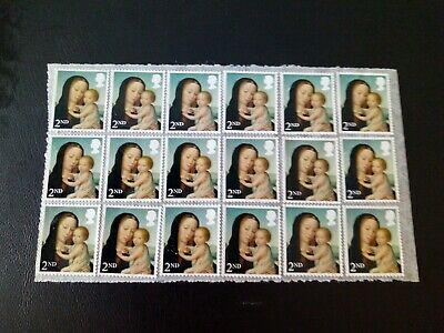 36 x 2nd Class Unfranked GB Christmas Stamps. On Easy Peel Paper With Gum.