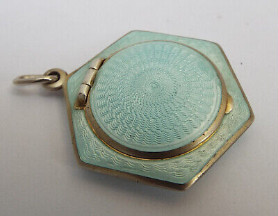 RARE SMALL ANTIQUE c1920 STERLING SILVER & GUILLOCHE ENAMEL CHATELAINE COMPACT