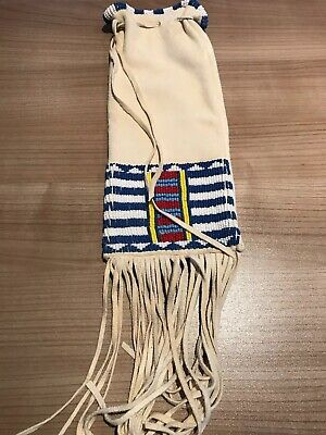Native American Plains Indianer Pipe Bag Pfeifenbeutel Hirschleder