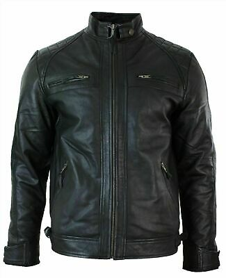 Jacket Biker Zip Leather Men Motorcycle Outwear Military Cafe Racer Black Casual