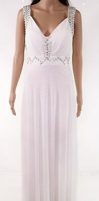 Coco Collection Women's Dress White 0 (IT 38) Gown Embellished Gathered $50 #370