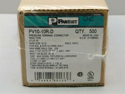 500 Panduit PV10-10R-D Ring Terminal 12-10AWG #10 Stud Size, Yellow Insulated
