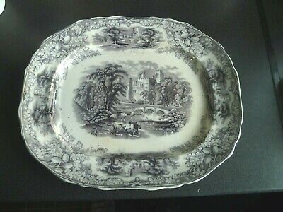 Large Grey & White Victorian Meat Plate Platter Server By Edge Malkin & Co c1870