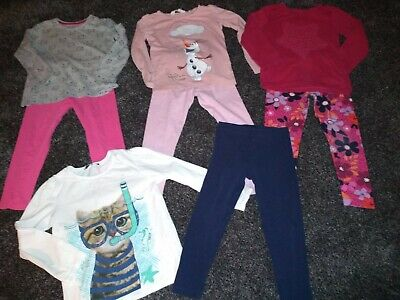 Girls Bundle Of 4 tops & 4 leggings/jeans Age 4-5 Years excellent Condition