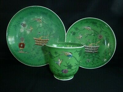 Stunning Georgian or Early Victorian China Cup Saucer & Plate Trio Antique Birds