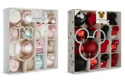 Disney Minnie & Mickey Mouse pack 25 Baubles Christmas Tree Decorations Topper