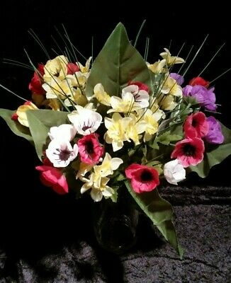 New Artificial daffodil Anemone bunch bouquet 40cm, 9 stem, red yellow purple