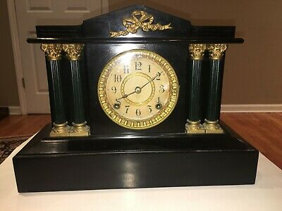 Antique Ansonia Mantel Clock 1882 Iron w/Black Lacquer & Grecian Columns Awesome