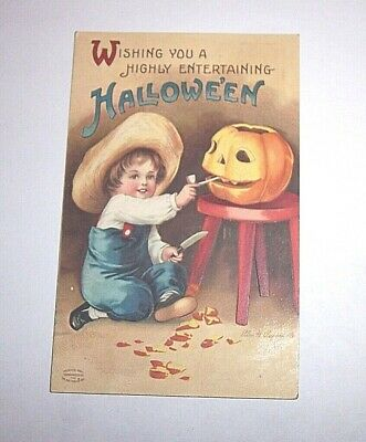 Original Halloween 1911 Card Wishing You A Highly Entertaining Halloween