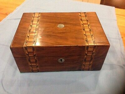Antique victorian inlaid marquetry walnut sewing/jewellery box.