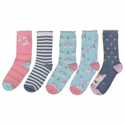 Crafted Essentials Kids Girls 5 Pack Unicorn Socks Infant Crew Pattern