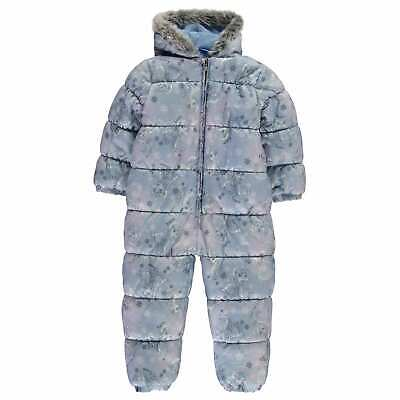 Character Kids Girls Frozen Padded Snowsuit Infants Snowsuits Hooded Zip Winter
