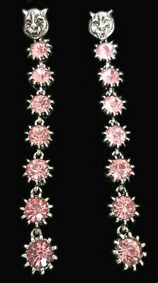 Exceptional 4.5 Inch Pink Ice Glass Silver Tone Lion Head Charm Runway Earrings!