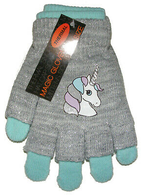 Girls Undercover 2 in 1 Thermal Magic Unicorn Fingerless//Covered Gloves