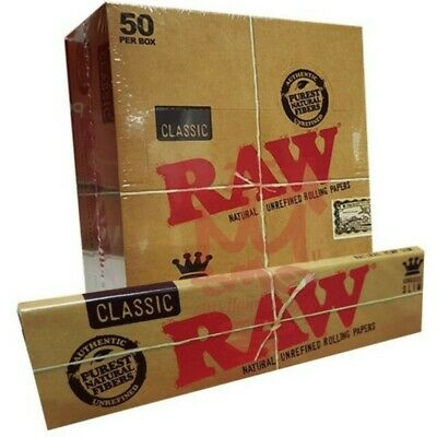 50 Packs Raw classic King Size Slim Natural Unrefined Rolling Papers(Full Box)