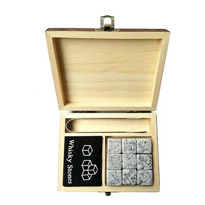 1X(Whiskey Stones with WORDS Wooden Box Whisky Rocks Stones Square Stone Wo6O6)