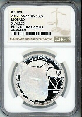2016 100S   Tanzania - Big Five - - Leopard - Plated -  Ngc Pl 69