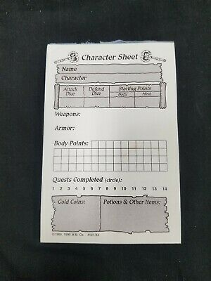 HeroQuest Character Record Sheets x70 Pad Sheet Hero Quest Replacement Parts