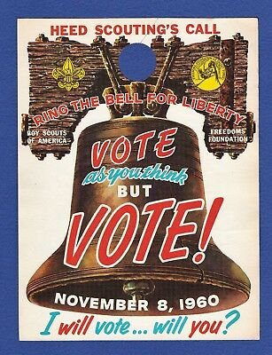 Vote 1960 Paper Door Hanger Boy Scouts  Kennedy  Liberty Bell BSA Scout Nov 8 Vi