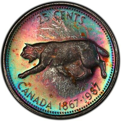 MS65 1967 25C Canadian Silver Lynx Quarter, PCGS Secure- Rainbow Toned