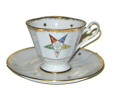 Vtg OES Order Of The Eastern Star Masonic Teacup & Saucer! 4/437 Hand Painted!