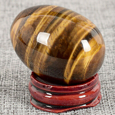 Natural Crystal Quartz Tiger Eye Stone Egg Sphere Gemstone+Display Stand 48x36mm