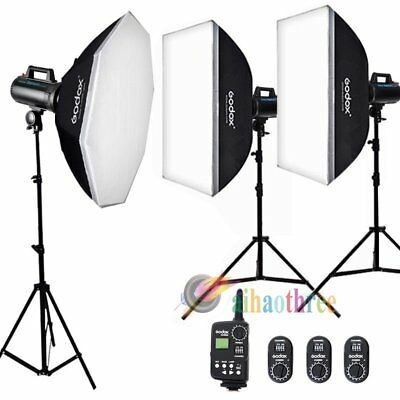 GODOX GS300 3x300W Photo Studio Strobe Flash + Softbox + Trigger + Stand Kit