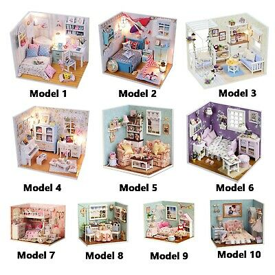 DIY Dollhouse Wooden Miniature Furniture LED Kit Girls Dream House New Year Gift