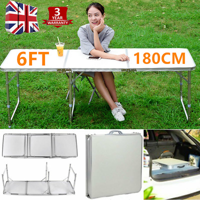6FT Quality Folding Table Camping Garden Party Fishing BBQ Trestle Desk Display