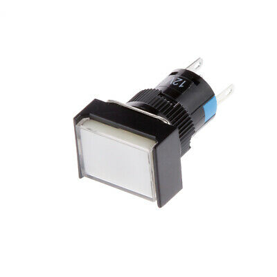 White LED Illuminated Square Push Button DC 12V Momentary Switch Self Reset