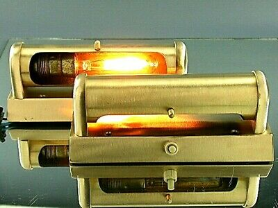 Vintage Mid Century Modernist Pair Wall Light Picture Lamps Sconce Brass Brushed