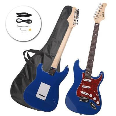 New Blue Practice School Band Pearl White Pick Guard Electric Guitar Set