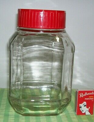 Vintage Large Maxwell House Coffee Jar Retro Red 21.5 cms tall