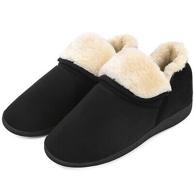 Men's Plush Warm Ankle Bootie Slippers Fuzzy Memory Foam Winter House Shoes