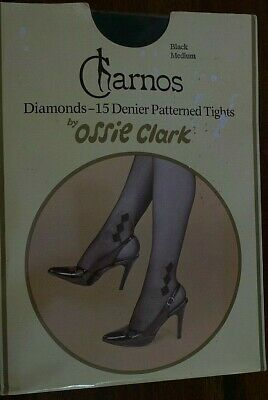 Ossie Clark For Charnos Black Diamond Tights Size Medium Hip 37-42""