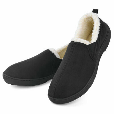 Men's Moccasin Slippers House Shoes Memory Foam Wool-Like Plush Fleece Lined
