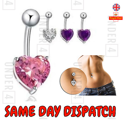 Belly Button Bar Body Piercing Stainless Steel  purple silver baby pink heart uk
