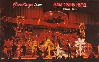 Postcard Greetings From MGM Grand Hotel Show Time Las Vegas Nevada NV
