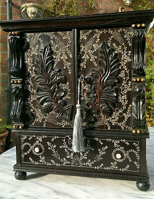 Early 19thc Antique Anglo Indian Coromandel Inlaid Desk Top Writing Cabinet 15""